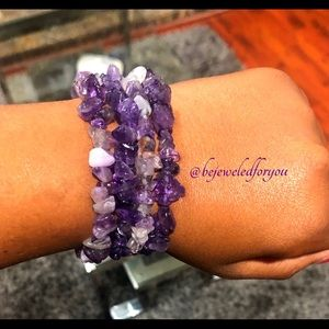 New Purple Chip Gemstone Agate Bracelet Set